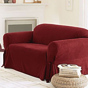 Sure Fit Soft Suede 1-Piece - Loveseat Slipcover - Burgundy (SF26185)