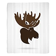 Nalahome 1 Fleece Blanket on Amazon Super Silky Soft All Season Super Plush Moose Decor Deer Head Canadianacred Northern Wilderness Mammals Hunting Graphic Print Fabric