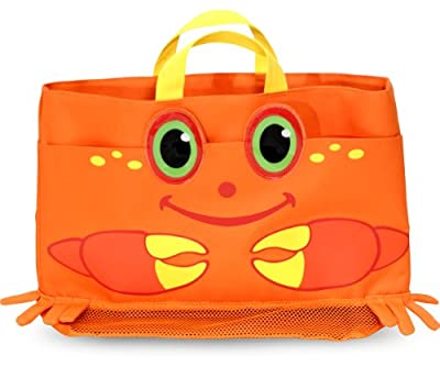 Melissa & Doug Sunny Patch Clicker Crab Large Beach Tote Bag With Mesh Panels