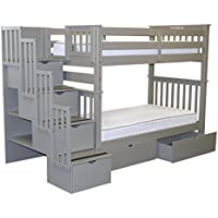 Bedz King Tall Stairway Bunk Beds Twin over Twin with 4 Drawers in the Steps and 2 Under Bed Drawers, Gray