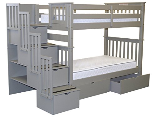Bunk Beds Twin over Twin Stairway, 4 Step and 2 Bed Drawers,
