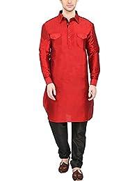 Men's Silk Blend Pathani Kurta Churidar Set