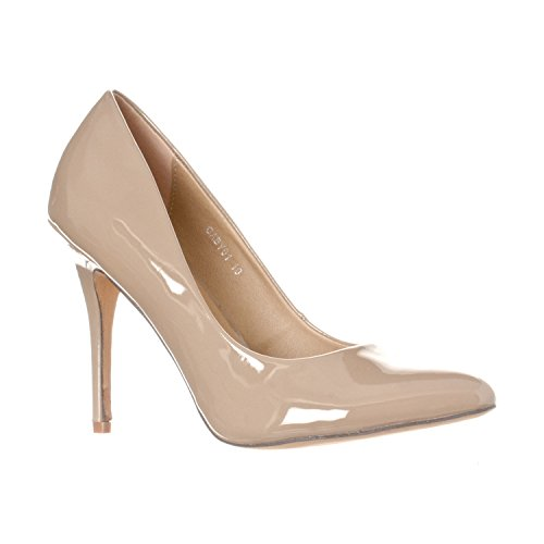Riverberry Women's Gaby Pointed, Closed Toe Stiletto Pump Heels, Khaki Patent, 8