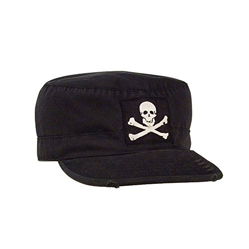 (Jolly Roger Vintage Fatigue Distressed Flat Brim Cadet Military Radar Cap Black (M))