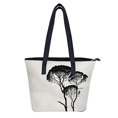 Silhouette Photo Of Trees Tote Bags Zippered Gym Shopping Travel Tote for Women PU Leather Handbag By AVBER ()
