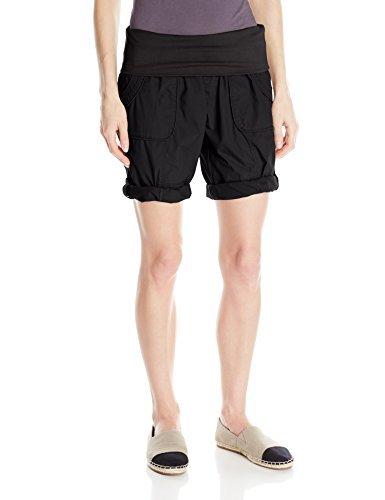 Cotton Contrast Trim Casual Shorts Black XS ()