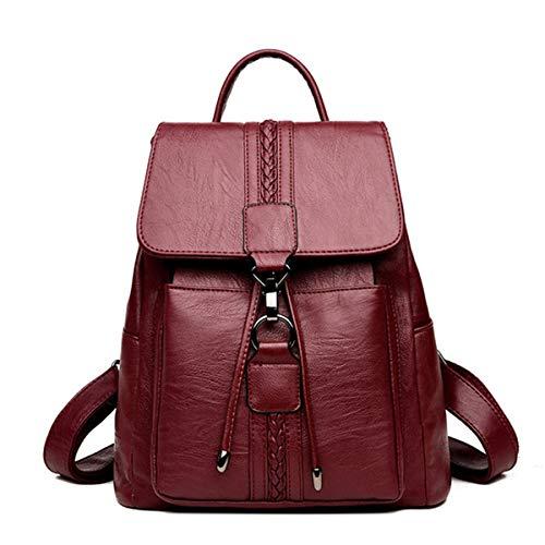 Casual TIE Women Backpack High Quality Leather Backpacks for Teenage Girls Female School Shoulder Bag Backpack mochila (Red Color)