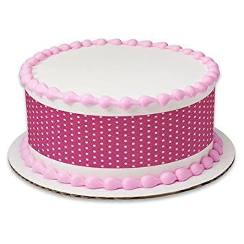 Pink Polka Dots Birthday Peel STick Edible Cake Topper Decoration For Borders W