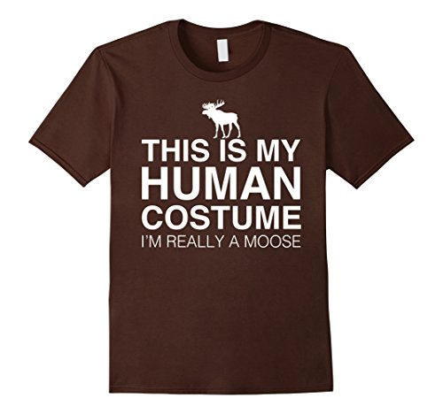Male Moose Costume (Mens This Is My Human Costume I'm Really A Moose Halloween Tshirt XL Brown)
