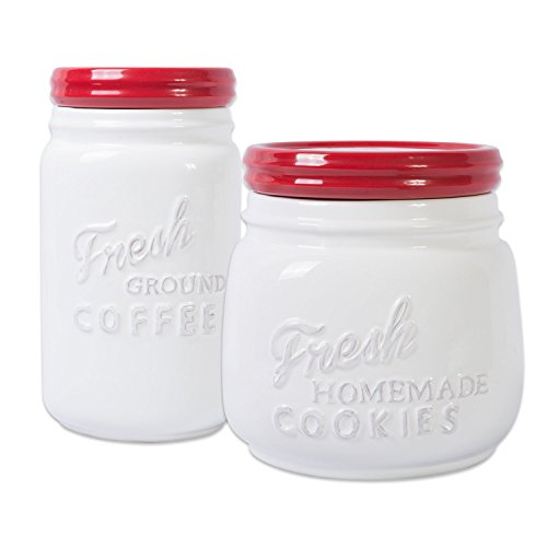 DII Ceramic Kitchen Matching Containers, (Set of 2), Cookie Jar & Coffee Canister, ()