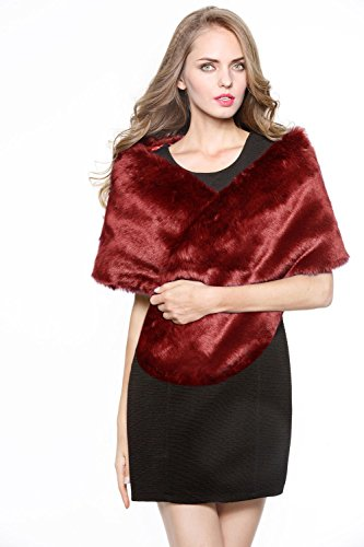 Luxury Bridal Party Evening/Wedding Faux Fur Shawl Wrap Stole-S51(Wine Red)