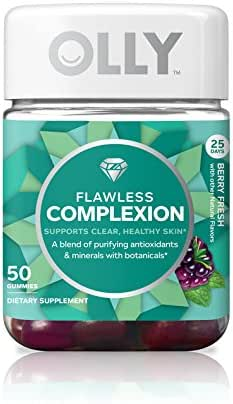 OLLY Flawless Complexion Gummy, 25 Day Supply (50 Gummies), Berry Fresh, Vitamins E, A, Zinc, Chewable Supplement