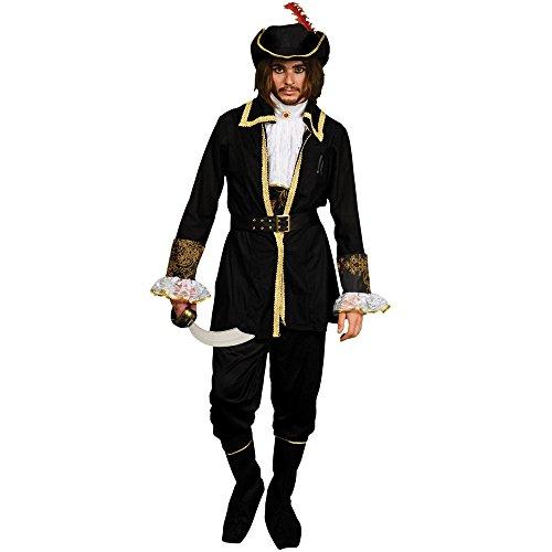 Morphsuits Men's Morphcostume Co Captain Walker D Plank Pirate Male Costume, Black/Gold, Large - Morphsuit Gold