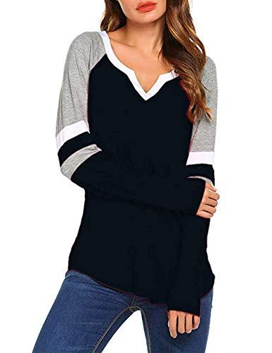 (MuCoo Women's Raglan Long Sleeve T-Shirts Loose Blouse V-Neck Baseball Tee Shirt Tops Black 3XL)