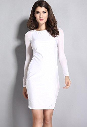 Nuevas señoras blanco malla manga larga Midi vestido Club Wear Evening fiesta verano vestidos tamaño L 12