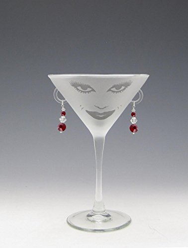 Glass Earrings Ruby (Set of 4 Lola Etched Martini Drinking Glasses with Ruby Earrings 7.25 ounces)