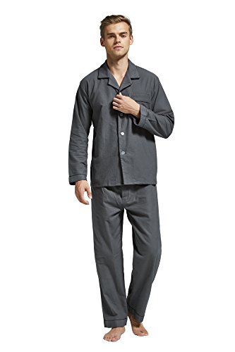 (Men's Flannel Pajama Set, 100% Cotton Long Sleeve Sleepwear (XX-Large, Grey with Black Piping))
