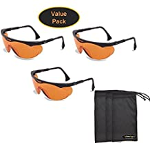 Uvex S1933X Skyper Safety Eyewear, Black Frame, SCT-Orange UV Extreme Anti-Fog Lens (3-Pack) w/ InPrimeTime Carry Pouches