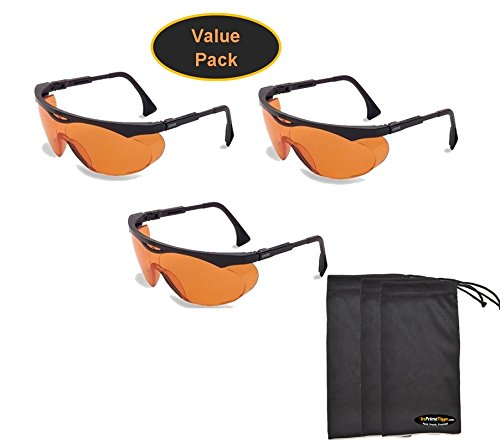 Uvex S1933X Skyper Safety Eyewear, Black Frame, SCT-Orange UV Extreme Anti-Fog Lens (3-Pack) w/ InPrimeTime Carry Pouches