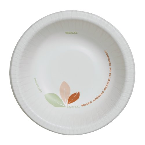 SOLO HB12B-J7234 Bare Eco-Forward Heavyweight Clay-Coated Paper Bowl, 12 oz. Capacity (8 Packs of 125) by Solo Foodservice