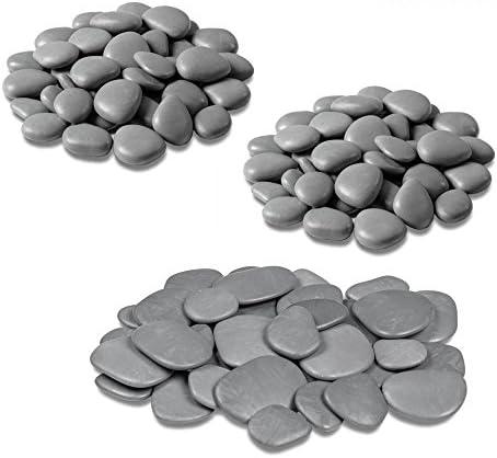 Teraplast - Piedras decorativas para jarrones, jardín y acuario en plástico reciclado - 3 paquetes, color gris: Amazon.es: Jardín