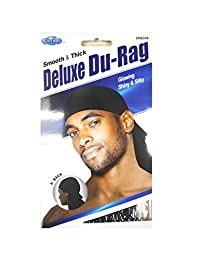 Dream Du-Rag Deluxe (Pack of 6) Smooth & Thick Black #0006