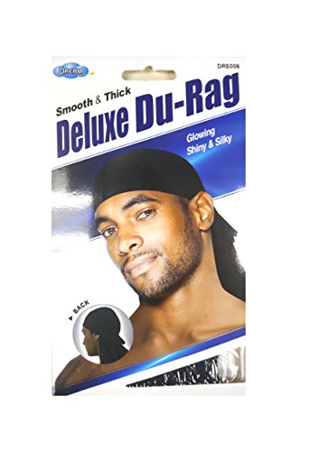 Dream Du-Rag Deluxe (Pack of 12) Smooth & Thick Black #0006