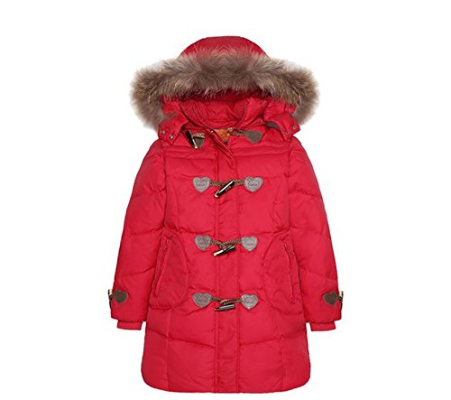 Newmarket Jacket (Baqijian Girls Parka Winter Coat Fur Big Girl Down Jackets Children Coats Teenager Thick Duck Down Kids Outerwear Jacket Red 5T)