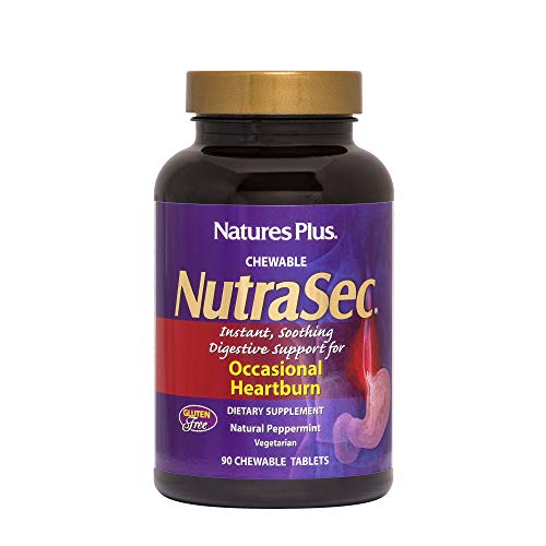 NaturesPlus Nutrasec Chewable Tablets - 90 Tablets - Natural Peppermint Flavor - Instant, Soothing Digestive Support For Occasional Heartburn - 90 Servings