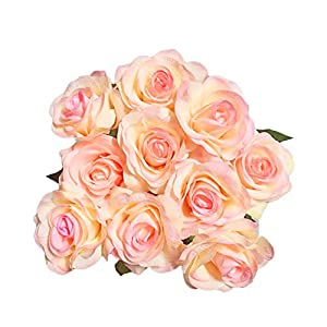 IPOPU Artificial Flowers, Silk Moisturizing Real Touch Rose Fake Flower with Green Leaves Wedding Bouquet for Home,Office, Party,Wedding Decoration and Festival Gift, 12 Pcs Peach 14