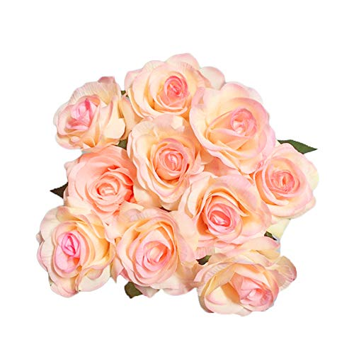 IPOPU 10 Pcs Romantic Real Touch Artificial False Latex Silk Blooming Roses Bouquet Floral Leaf for Home Wedding Party Garden Bridal Hydrangea Decorations DIY (Champagne Rose)