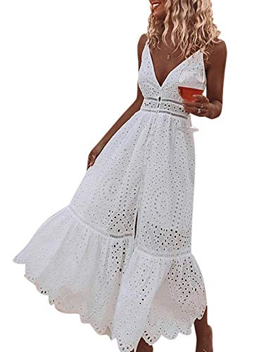 BerryGo Women's Embroidery Pearl Button Down Dress V Neck Spaghetti Strap Maxi Dress White-S