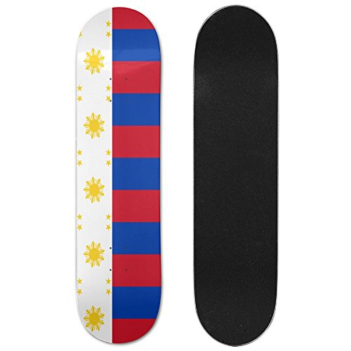 Flag Of The Philippines Sturdy Fitness Skateboard Longboards Deck Print School Skateboard Long Plate Double Play Scooter Cruiser