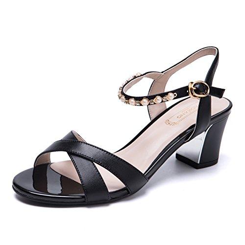 Moda Mujer verano sandalias confortables tacones altos Black