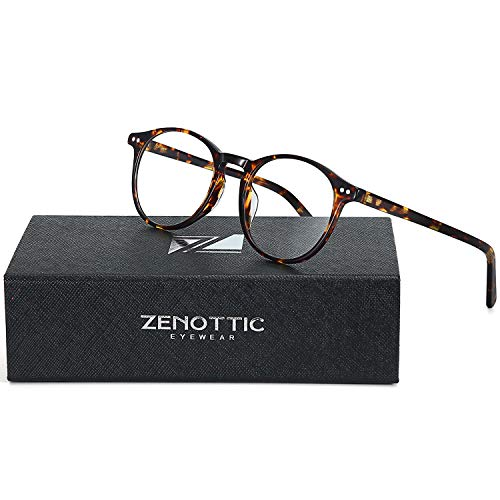 ZENOTTIC Small Round Clear Lens Glasses Non-Prescription Eyeglasses Frames for Women Men (Tortoise)