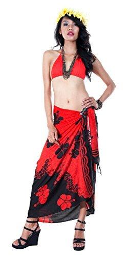 1 World Sarongs Donna Pareo Copricostume Colore Separato Ibisco Floreale Rosso Nero