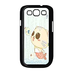DIY cat & fish Phone Case, DIY Case for samsung galaxy s3 i9300 with cat & fish (Pattern-2)