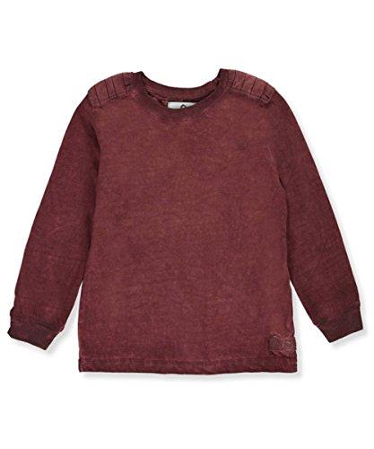 Akademiks Little Boys' Toddler L/S T-Shirt - Burgundy, 4t (Boys Long Sleeved Twill Shirt)