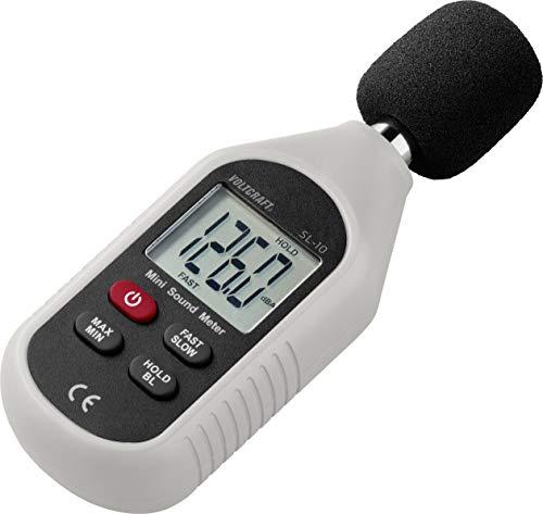 Voltcraft Mini Sound Level Meter SL-10, Dark/Light Grey, Parameters, Frequency, Pitched Sound dBA