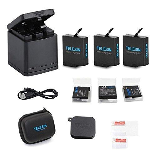 Telesin Triple cargador de batería, Caja de Carga con 3 Baterías, Caja de Almacenamiento, cable USB Tipo C, Funda de lente...