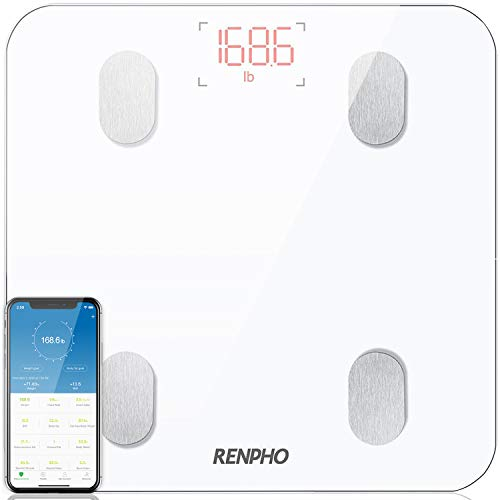 Pèse Personne Impédancemètre, RENPHO Balance Connectée, Pèse-Personne Bluetooth Balance Salle de Bains Impedancemetre avec 13 Données Corporelles (BMI/Muscle/Graisse Corporelle/Masse Osseuse), Blanc