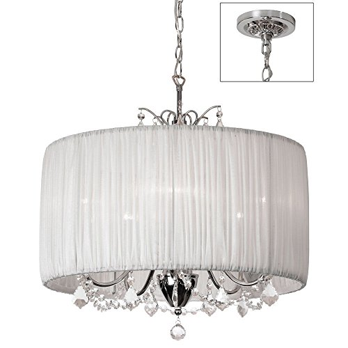 Crystal Pendant Light In Oyster Pleated Fabric Cylinder