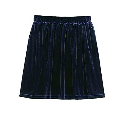 ARJOSA Women's Velour Pleated High Waist Skater Flared Mini Skirt