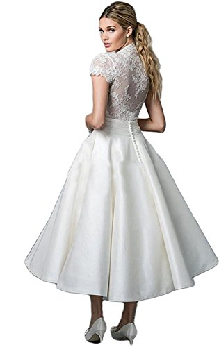Top Wedding Neck V Length Tea Dobelove s White Lace Women Dresses xqWPwnW8tg