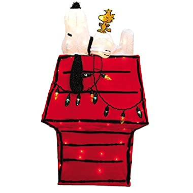 Product Works Peanuts 3D Pre-Lit Snoopy on Dog House with Woodstock Christmas Yard Art, 32-Inch, 80 Lights