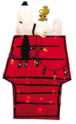 productworks peanuts 3d pre lit snoopy on dog house with woodstock christmas yard art
