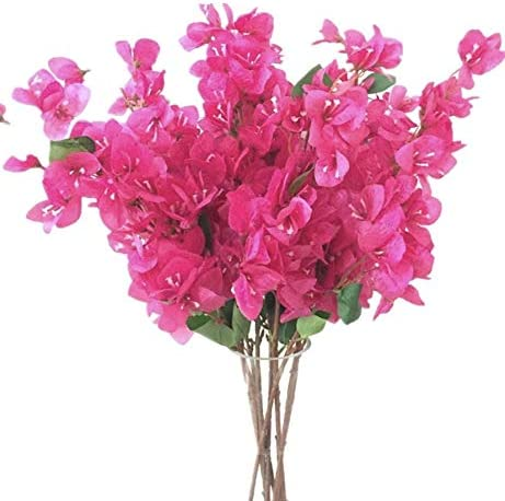 Amazon Com Jiumengya 5pcs Bougainvillea Glabra Artificial Floor Mounted Fake Bougainvillea Spectabilis Flower 31 5 For Wedding Centerpieces Decorative Flowers Hot Pink Furniture Decor