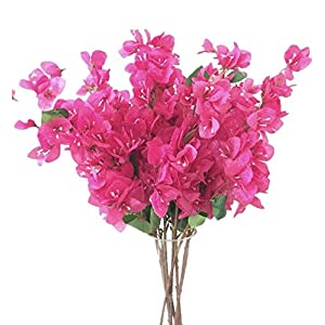 "jiumengya 5pcs Bougainvillea Glabra Artificial Floor Mounted Fake Bougainvillea spectabilis Flower 31.5"" for Wedding Centerpieces Decorative Flowers (hot Pink) 4"