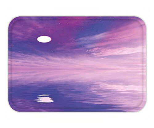 Minicoso Doormat Space Surreal Spectacle with Little Stars and Full Moon Reflecting on Sea Fuchsia Violet Blue - Tiffany Spectacles