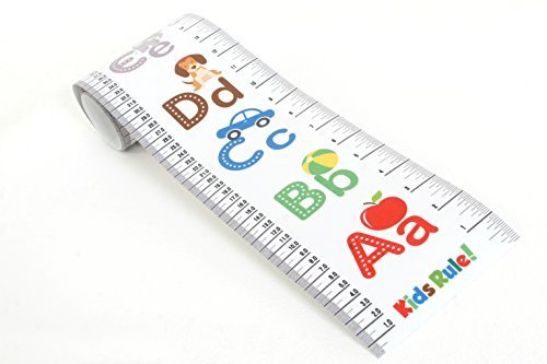 Kids Rule Alphabet Plastic Roll-Up Growth Height Chart. Measures from Birth to Adult.